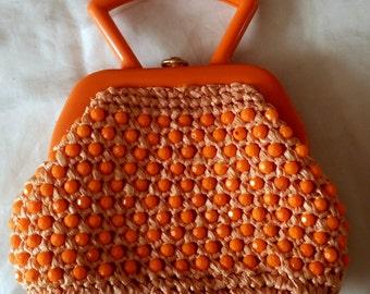 1960s Handbag. Beaded Orange Italian Raffia Purse. Mod, Disco, Pop. Bakelite Handle. MCM Mid Century Modern.