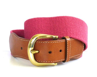 Vintage Pink Elastic and Leather Belt // Land's End Made in USA
