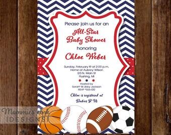 Allstar Baby Shower Invitation, All Star Invite, Sports Invitation, Sports Party, Sports Baby Shower,Chevron Invitation, Baby Shower Invite