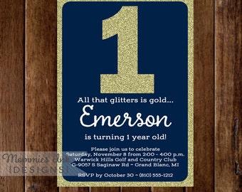Navy and Gold Invitation, Glitter Birthday Invitation, All That Glitters Invitation, Navy and Gold Birthday Invite, DIY Printable