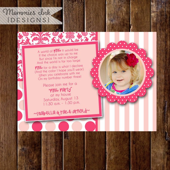 Birthday Invitation, Pink Party, Pink Birthday Party, Girls Birthday Party, Pink Theme, DIY, Printable, Pink Damask Invite, Pink Invite