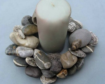 Gray Black and White Rock Wreath or Candle or Pot Ring (RW315)