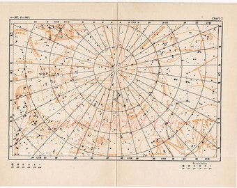 1908 STAR CHART I original antique celestial constellation figure astronomy map print - andromeda ursus giraffe cassiopeia cetus