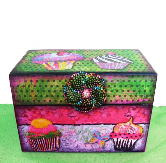 Wooden Recipe Box Personalized Hot Pink and Lime Green Cupcake Craze Custom