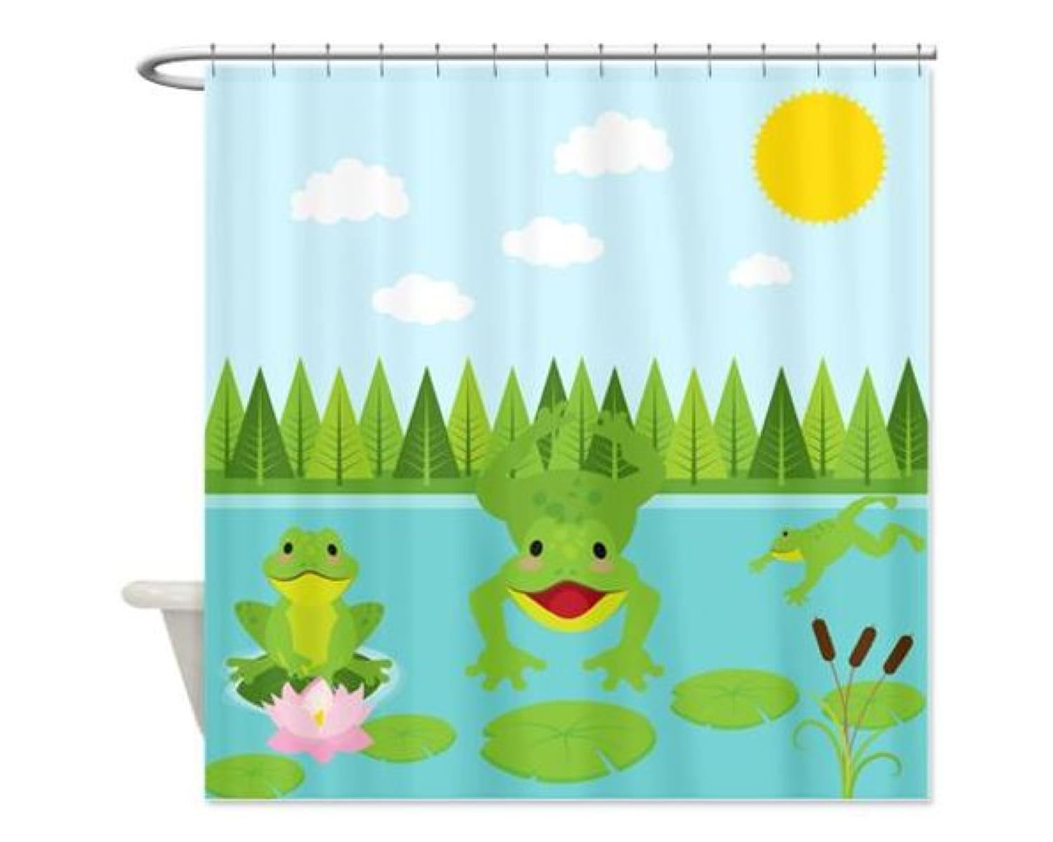 Frogs Non-Personalized Shower Curtain for Kids by HappywoodGoods