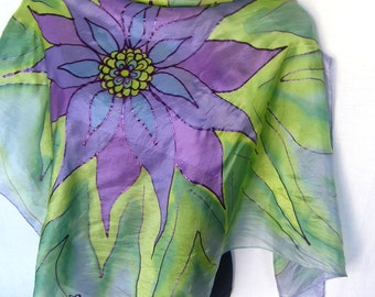"Hand Painted Silk Scarf,  Floral, Purple Mint Green, 35"" Square Silk Scarf, Gift Under 50"
