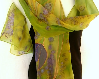 Silk Scarf, Hand Painted Silk Scarf, Abstract Floral Glittery Design, Lime Green Lavender Purple, Silk Chiffon Scarf, Gift For Her