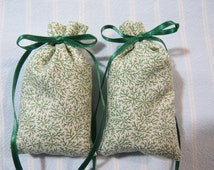 Ecru Sachet-'Tea Rose' Fragrance-Green Floral Sachet-Green Ribbon-Cotton Fabric Herbal/Botanical Sachet-Cindy's Loft
