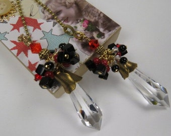 Chain Pull Pair for Ceiling Fan or Lamp with German Crystal Points, Red and Black Beaded Drops and Antiqued Brass Petal  Caps