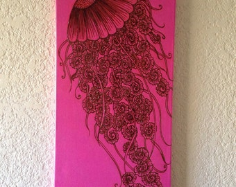 On Sale Acrylic Painting Jellyfish Swirls, Hand drawn henna art, original, one of a kind, Ready to Ship