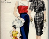 1960's Vogue Pattern No. 5251 - Dress with Slim Skirt and Scoop or High Neckline with Scarf  Bust 36