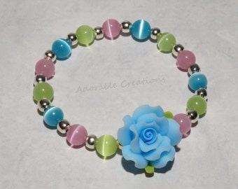 Aqua, Pink & Mint Green Rose Flower Bracelet