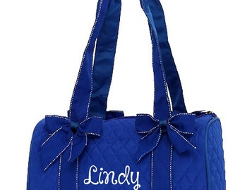 Small Royal and White Duffle Bag Great Dance or Overnight Bag Monogrammed Personalized