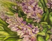 Lavender Hyacinths Hand Painted Silk Scarf Framed
