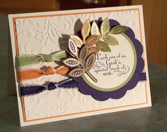 """Handmade Inspirational Greeting Card - 4.25"""" x 5.5"""" - Stampin Up TRUST GOD - Scripture & Embossed Leaves"""