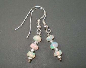 Opal Earrings, Blue Pink Ethiopian Opal Dangle Earrings on Sterling Silver French Wires