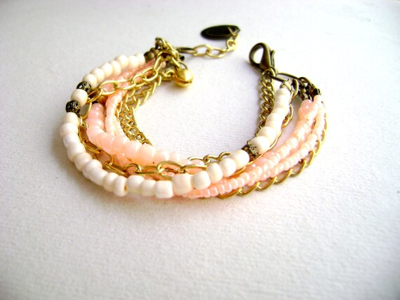 Bohemian style bracelet affordable color block stackable soft neon coral ivory delicate boho chic gold bracelet- In my dreams -