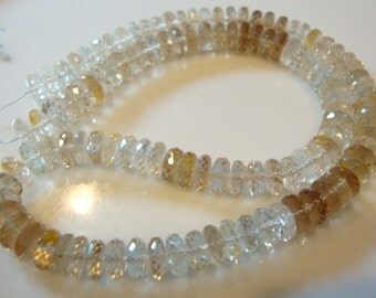 Sparkly AAA Gold Rutilated Quartz Rondelle 3x8 mm  8 1/2 Inches