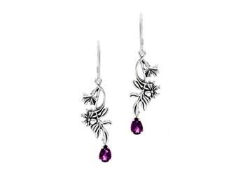 Sterling Silver Wildflower Earrings with 1 Carat Amethyst Gemstones