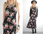 90s Floral Dress 90s Grunge Long Rayon Floral Maxi Dress Rayon Dress 90s Dress Long Floral Dress Vintage 90s Clothing Black Floral Dress S M