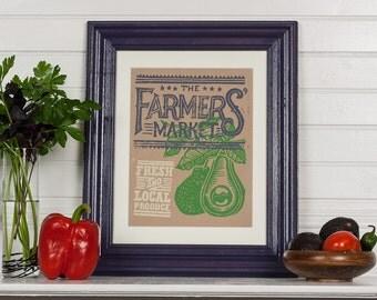 Farmers Market - Avocado Block Print