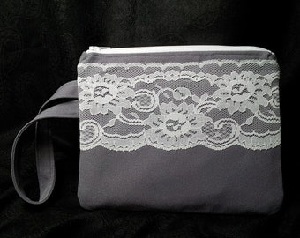 Zippered Wristlet with Vintage Lace Overlay Gray & White