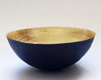 Gold Bowl, Paper Mache Bowl, Black and Gold, Gold Decor, Gold Leaf Paper Bowl, Paper Bowl, Paper Mache, Paper Art