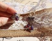 Vintage Earrings, Fire Opal, Dragonfly Earrings, Earrings silver, Dragonfly earrings, Victorian Jewelry, Antique Jewelry, Opal Earrings