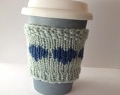 Wool Coffee Sleeve, Gift for Her, Hearts Cup Cozy, Reusable Cup Collar, Knitted drink cozy, Coffee gift, small gift, Mom gift