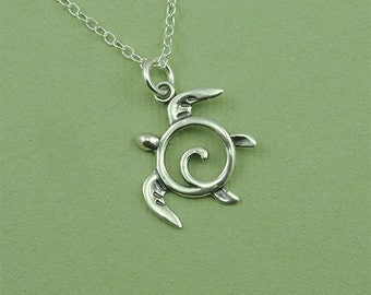 Silver Sea Turtle Necklace - sterling silver turtle pendant jewelry