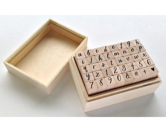 Casual Letters & Numbers Script Rubber Stamps • Hero Arts Mounted Rubber Stamp Set In Box • Alphabet Stamp (LP366)