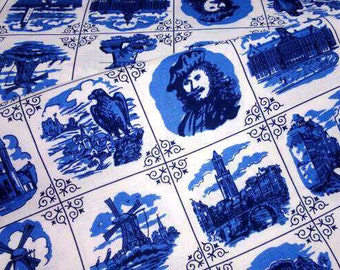 Delft Blue cotton fabric Rembrandt Amsterdam - Dutch print - Fat Quarter