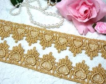 "C124 Sewing Trim Metallic Gold Venice Lace Victorian Design DIY craft 1.75""  (C124-gl)"