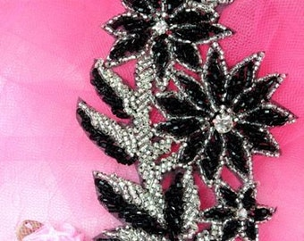 "FS10 Black & Silver Floral Beaded Sequin 5""  (FS10-BKSL)"
