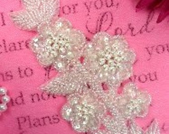FS17 Crystal Pearl Beaded AB Sequin Floral Applique 7""