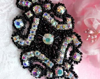 "XR296 Black Backing Aurora Borealis Black Beaded Crystal AB Applique 4"" (XR296-bkab)"