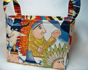 PK Fabric Basket in Pow Wow in Multi - Storage Basket - Diaper Caddy - Ready To Ship - Reversible