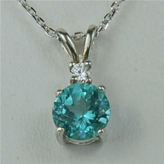 Apatite Necklace Sterling Silver 7mm Round 1.60ct With White Zircon Accent