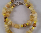 Yellow Opal Chips with Czech Glass Round beads and Czech glass cube beads