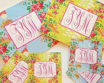 Monogram chinoiserie inspired folded notes
