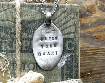 """Spoon Necklace, Stamped Spoon Necklace """"Bless Your Heart"""" Soutern Quote Jewelry, Spoon Jewelry, Re Purposed Flatware Necklace, SALE"""