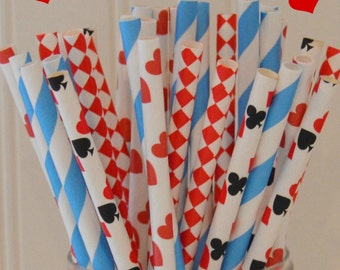 Paper Straws, Alice In Wonderland Paper Straws, Queen of Hearts Party, Casino Party Straws, Drink Me Paper Straw, Mad Hatter Tea Party Straw