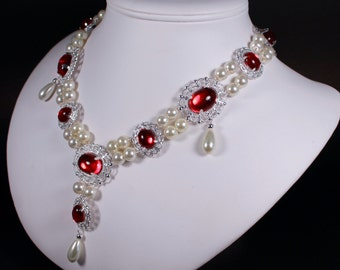 Ruby Red Lush Renaissance Tudor Game of Thrones Pearl Necklace Costume Jewelry