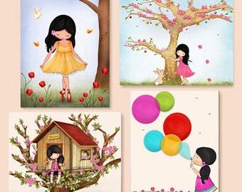 Girls art prints, Childrens Wall Art Print, Nursery decor, wall decor art print,art for girls room,playroom decor,nursery art,nursery prints