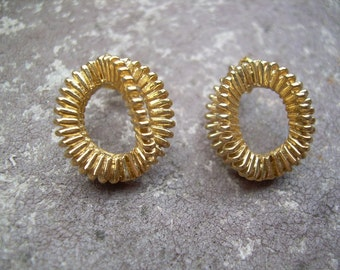 Vintage Gold tone 3 D textured earrings Classy design