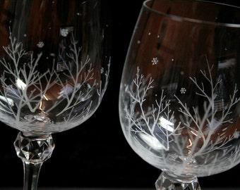 Crystal Engraved Winter Snowflake Wine Glasses