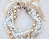 Chunky Rhinestone and Pearl Bracelet & Earrings Set Bridesmaid Gift w/ Ribbon Color Your Choice, Swarovski Vintage Wedding Bracelet