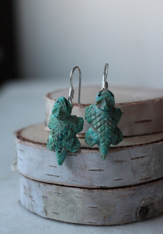 Handcarved Turquoise Horned Toad Earrings Navajo Handmade