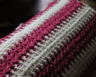 "Raspberry and Aran ""Mile a Minute"" Baby Blanket"