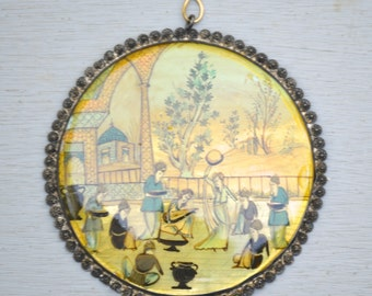 Antique Painted Large Shell Pendant . Set In Silver . Women . Girls. Scene.